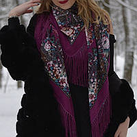 Павлопосадский платок  женский шерстяной высшего качества
