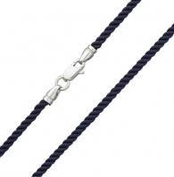 Крученый шелковый шнурок 55 см - серебряный замок