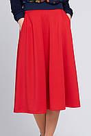 Женская юбка миди с карманами Брэнди красная