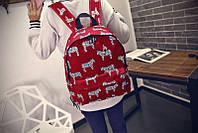 Бордовый городской рюкзак Зебры. Стильный аксесуар. Модная расцветка. Доступная цена. Код: КГ59
