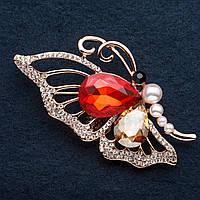 "Брошка Бабочка цвет металла ""золото"" красный кристалл. 6 см"