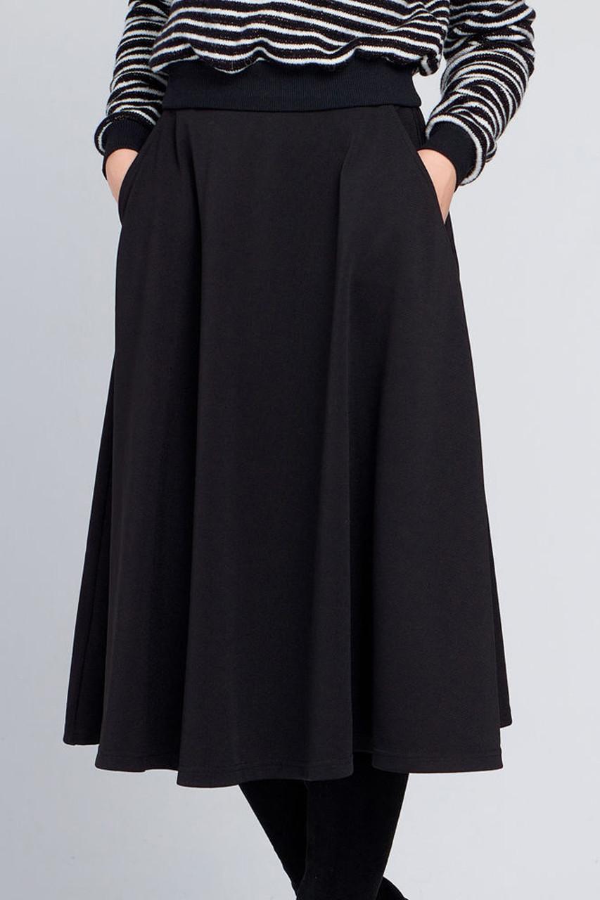 1354bf5291d Женская юбка миди с карманами Брэнди черная S - DS Moda - женская одежда  оптом от