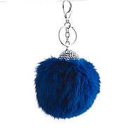 Брелок Бумбон натуральный мех со стразовой шляпкой ярко синий