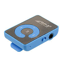 Зеркальный MP3 плеер Клипса + Наушники +USB переходник blue (синий)
