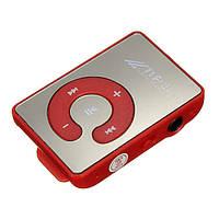 Зеркальный MP3 плеер Клипса + Наушники +USB переходник red (красный)