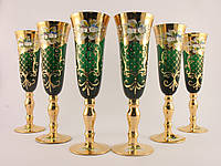 Набор шампанок Чехия Зеленое стекло стекло, позолота, лепка