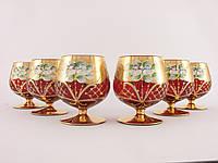 Набор бокалов для коньяка Чехия Красное  стекло, позолота, лепка