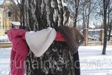 В центре Сум на деревьях оставляют одежду для бездомных и малоимущих