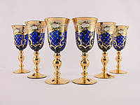 Набор бокалов для ликера. водки Чехия Синее  стекло, позолота, лепка