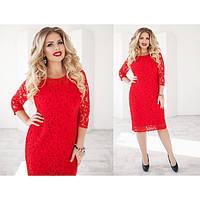 Женское нарядное гипюровое платье красного цвета большой размер