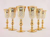 Набор бокалов для ликера. водки Чехия Белое  стекло, позолота, лепка