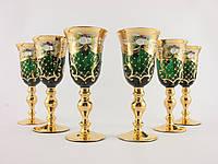 Набор бокалов для ликера. водки Чехия Зеленое  стекло, позолота, лепка
