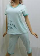 Пижама для дома бриджи и футболка, от 44 до 50 р-ра