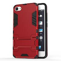 Чехол накладка для Meizu U10 противоударный силиконовый с пластиком Alien, с подставкой, красный