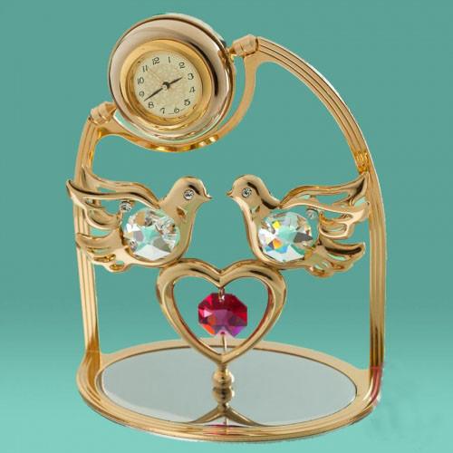 Позолоченные часы-статуэтки Swarovski от Crystocraft