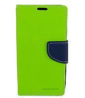 Чехол книжка для Lenovo A536 боковой с отсеком для визиток, Mercury GOOSPERY Зеленый