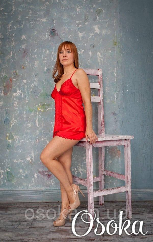 Піжамка шовкова з шертиками Serenade (Серенада) 153 Червоний