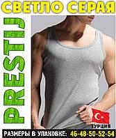 """Светло серая мужская майка хлопок """"PRESTIJ"""" Турция однотонная без надписи  ММ-5"""