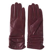 Перчатки женские (кожаные, бордовые, короткие, теплые)