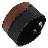 Широкий браслет напульсник кожаный двуцветный