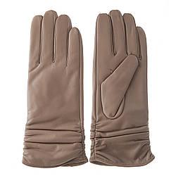 Перчатки женские (кожаные, бежевого цвета, качественные, стильные)