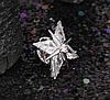 Брошь Звезда с цирконием, родированная, фото 4