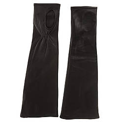 Митенки женские (черные, кожаные, длинные, модные)