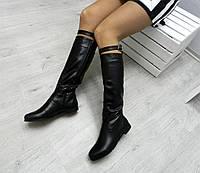 Женские сапоги зимние кожа,  высокие 39 см, черные /  сапоги  женские натуральная кожа, модные
