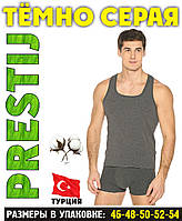 """Тёмно серая мужская майка хлопок """"PRESTIJ"""" Турция однотонная без надписи  ММ-6"""