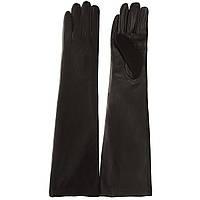 Перчатки женские (черные, отличное сочетание кожи и замши, модные)