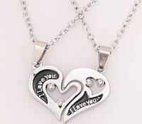 Парные кулоны Две половинки сердца на цепочке