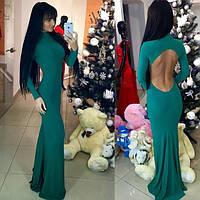 Шикарное зеленое вечернее платье с открытой спиной. Арт-9454/66