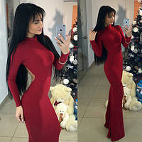 Шикарное бордовое  вечернее платье с открытой спиной. Арт-9454/66