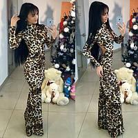 Шикарное леопардовое  вечернее платье с открытой спиной. Арт-9454/66