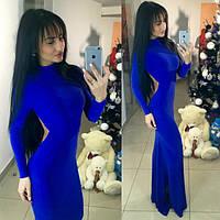 Шикарное вечернее платье с открытой спиной, цвет электрик. Арт-2441/66