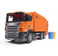 Детская игрушка мусоровоз SCANIA R-R-series, оранжевый, Bruder 03560