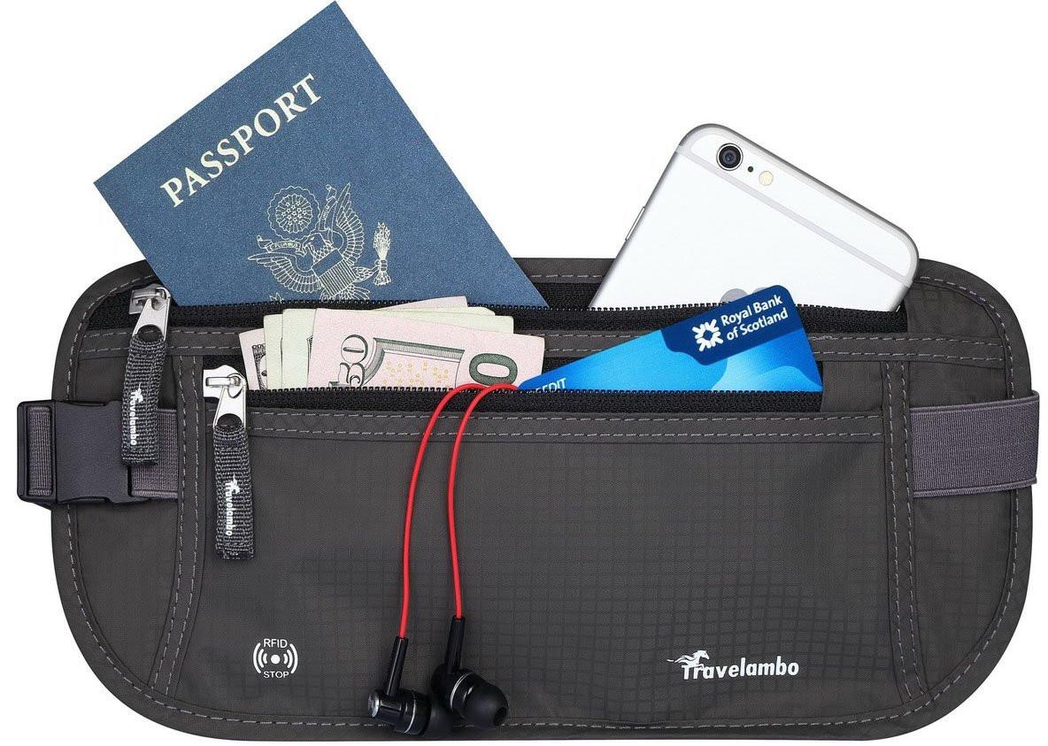 Секретная сумка на пояс Travelambo с RFID защитой