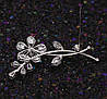 Брошь Ветки с цветком, родированная, фото 7