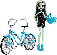 Фрэнки Штейн кукла шарнирная в наборе с велосипедом, Monster High Boltin' Bicycle Frankie Stein & Vehicle