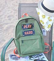 Модный молодёжный зеленый городской рюкзак Play hard. Красивый дизайн. Удобный. Код: КГ61