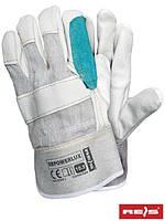 Защитные перчатки усиленные лицевой кожей (перчатки кожаные рабочие REIS Польша) RBPOWERLUX BEJKZ