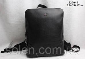 Молодёжный  кожаный  рюкзак.Кожаный чёрный рюкзак для парней и девушек.