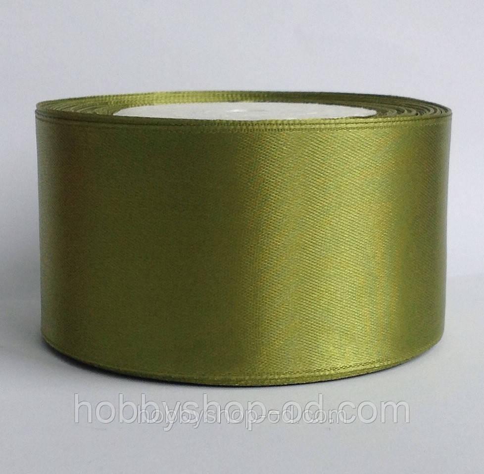 Лента атласная 5 см оливковая