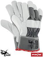 Перчатки защитные, укрепленные воловьей кожей (перчатки кожаные рабочие REIS Польша) RHIPPER SW