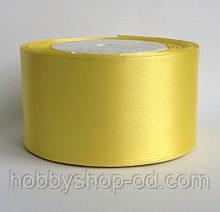 Стрічка атласна 5 см світло-жовта
