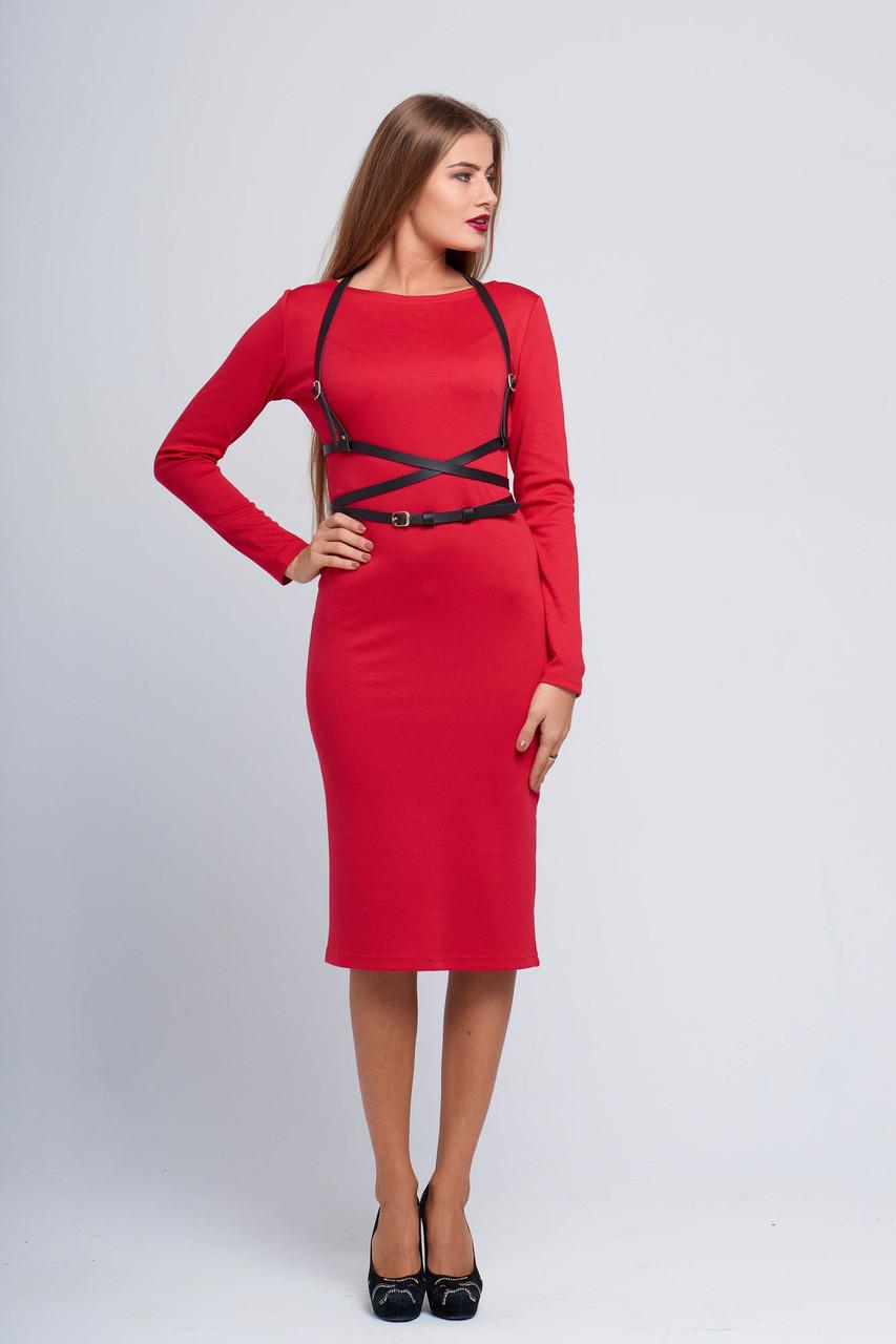 ead5fa229d9ef48 Красное трикотажное платье с рукавами Гамма - DS Moda - женская одежда  оптом от производителя в