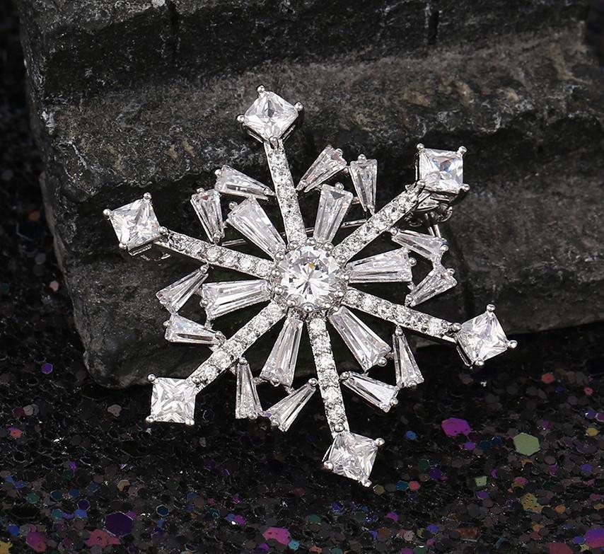 Брошка родована, Сніжинка з багетним цирконієм, Xuping
