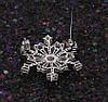 Брошь Снежинка с багетным цирконием, родированная, фото 7