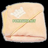 Детское махровое (очень длинная петля) уголок-полотенце после купания 95х95 см ТМ Ярослав 3073 Оранжевый