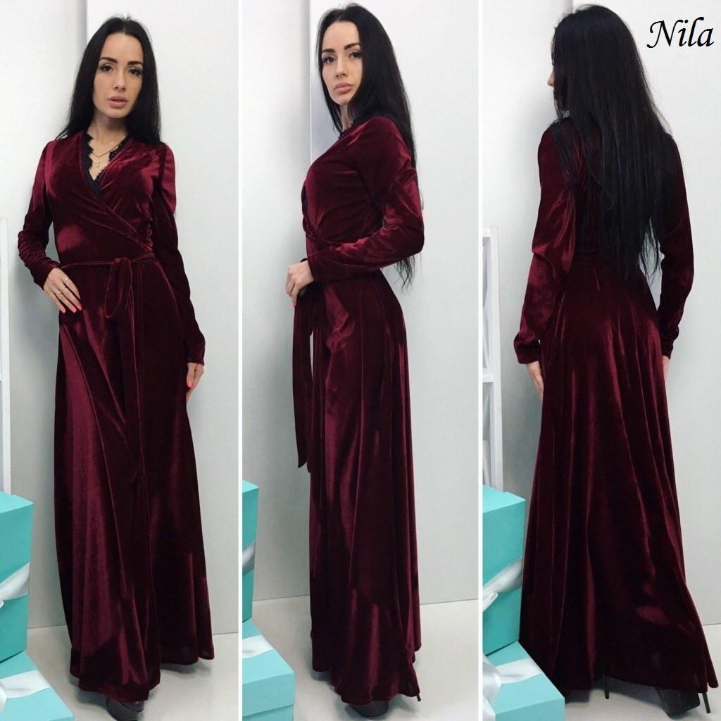 Длинное велюровое платье